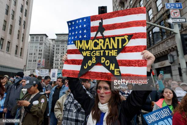 Protesters at a proimmigration rally where organizers called for a stop to the Immigration and Customs Enforcement raids and deportations of illegal...