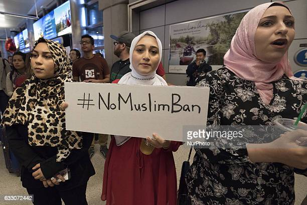 Protesters at the Los Angeles International Airport rally against Trumps executive order to ban entry into the US to travelers from seven Muslim...