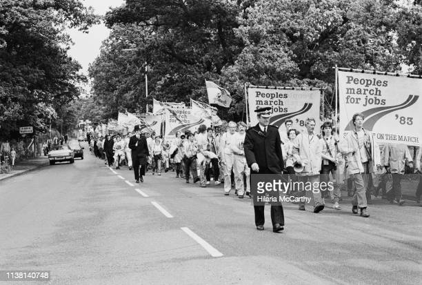 Protesters at the People's March for Jobs rally in Hyde Park, London, UK, 5th June 1983.
