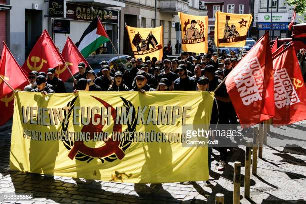Protesters atend a leftwing radical and proPalestinian demonstration 'Out to the Red May 1' in the Neukoelln district on May Day on May 1 2018 in...