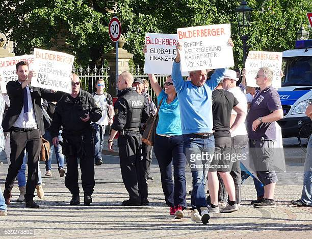 Protesters attempt to hold an unauthorized demonstration against the Bilderberg Group's meeting in Dresden on June 9, 2016 in Dresden, Germany. The...