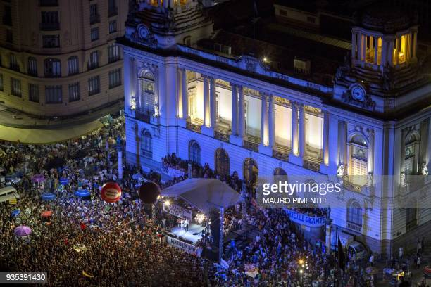 Protesters attend a demonstration against the murder of Brazilian councilwoman and activist Marielle Franco in front of Rio's Municipal Chamber Rio...
