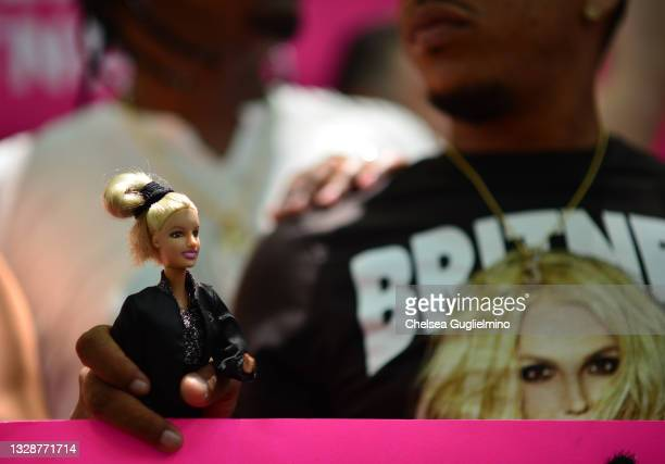 Protesters attend a #FreeBritney Rally at Stanley Mosk Courthouse on July 14, 2021 in Los Angeles, California. The group is calling for an end to the...