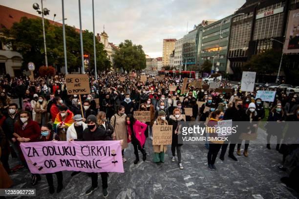 Protesters attend a protest against a new legislation relating abortions in Bratislava, Slovakia on October 18, 2021.