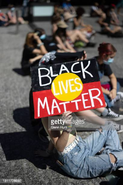 Protesters attend a rally at King George Square on April 10, 2021 in Brisbane, Australia. The national day of action marks 30 years since the royal...