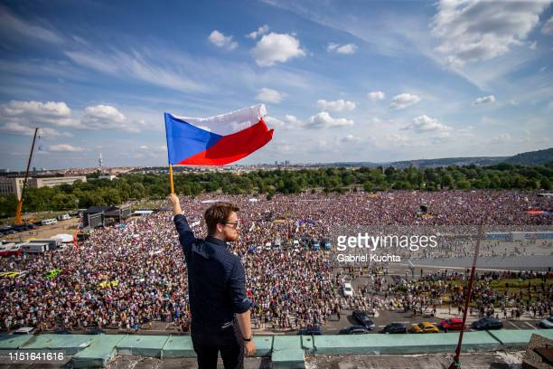 Protesters attend an AntiGovernment protest at the Letna plain on June 23 2019 in Prague Czech Republic Tens of thousands attended the rally in...