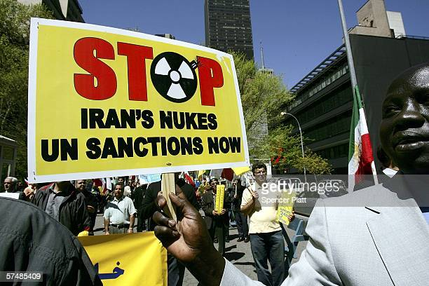 Protesters attend an IranianAmerican rally where Irans continued nuclear activities were denounced April 28 2006 in New York City The International...