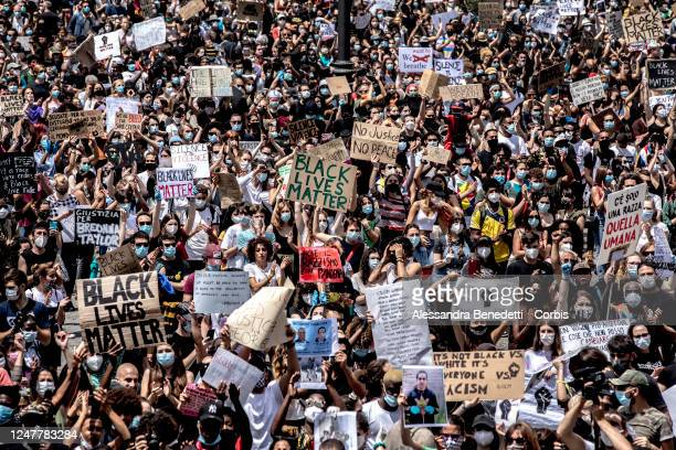 Protesters attend the Black Lives Matter Rally on June 07, 2020 in Rome, Italy. The death of an African-American man, George Floyd, while in the...