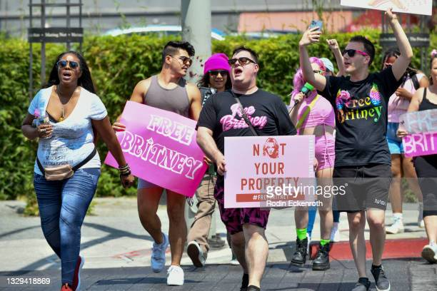 Protesters attend the #FreeBritney March starting in Plummer Park on July 18, 2021 in West Hollywood, California. The group is calling for an end to...