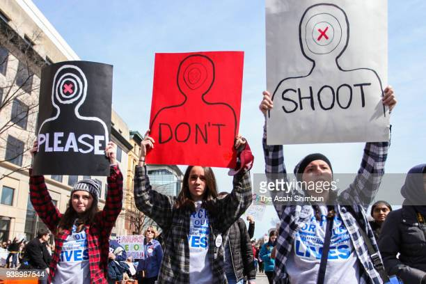 Protesters attend the March for Our Lives rally on March 24, 2018 in Washington, DC. More than 800 March for Our Lives events, organized by survivors...