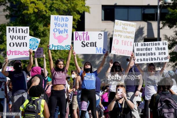 Protesters attend the Rally For Abortion Justice on October 02, 2021 in Washington, DC.