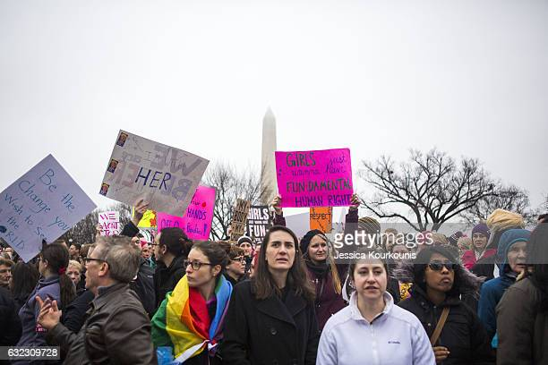 Protesters attend the Women's March on Washington on January 21, 2017 in Washington, DC. Following the inauguration of Donald Trump as the 45th...