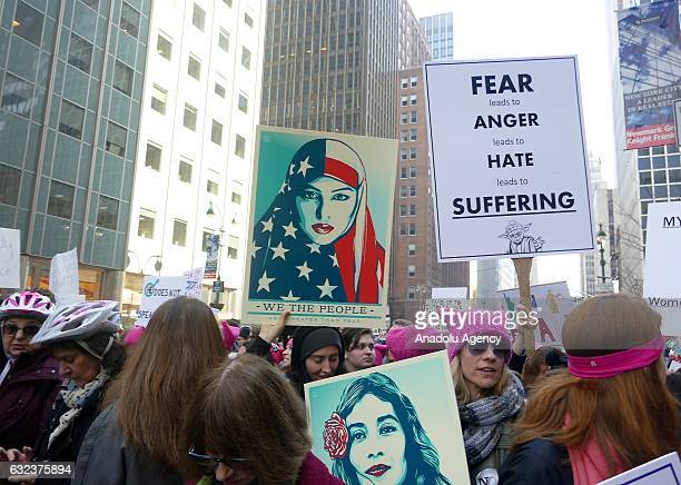 Protesters attend the Women's March to protest President Donald Trump in New York USA on January 21 2017 Thousands of protesters demonstrated across...