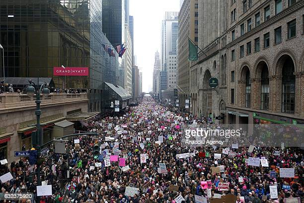 Protesters attend the Women's March to protest President Donald Trump in New York, USA on January 21, 2017. Thousands of protesters demonstrated...