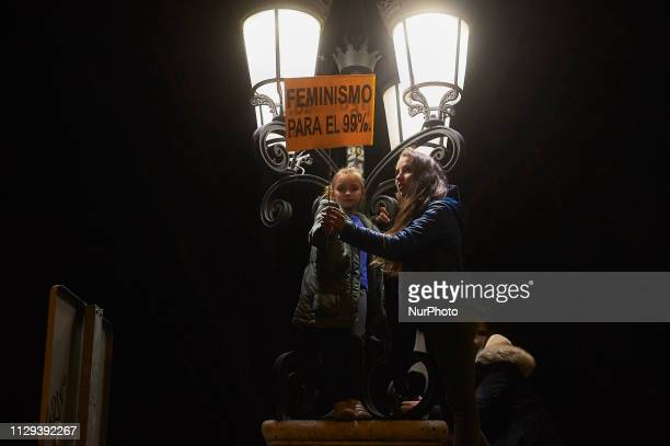 A protesters attends a demonstration during the International Women's Day on March 08 2019 in Madrid Spain