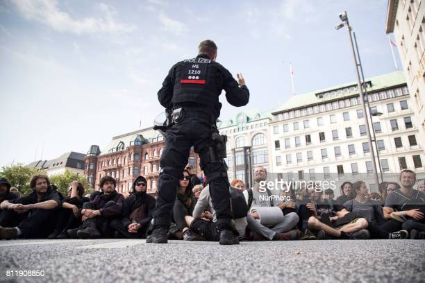 Protesters block a street during G 20 summit in Hamburg on July 7 2017