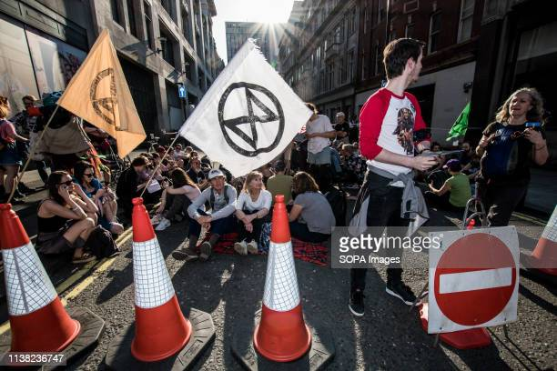 Protesters block the passage of the truck that was carrying the boat Berta Caceres during the Extinction Rebellion Strike in London Hundreds of...