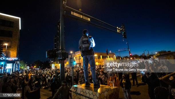 Protesters blocked Lake St. And Chicago Ave. In Minneapolis after Derek Chauvin, the former Minneapolis police officer charged with murdering George...