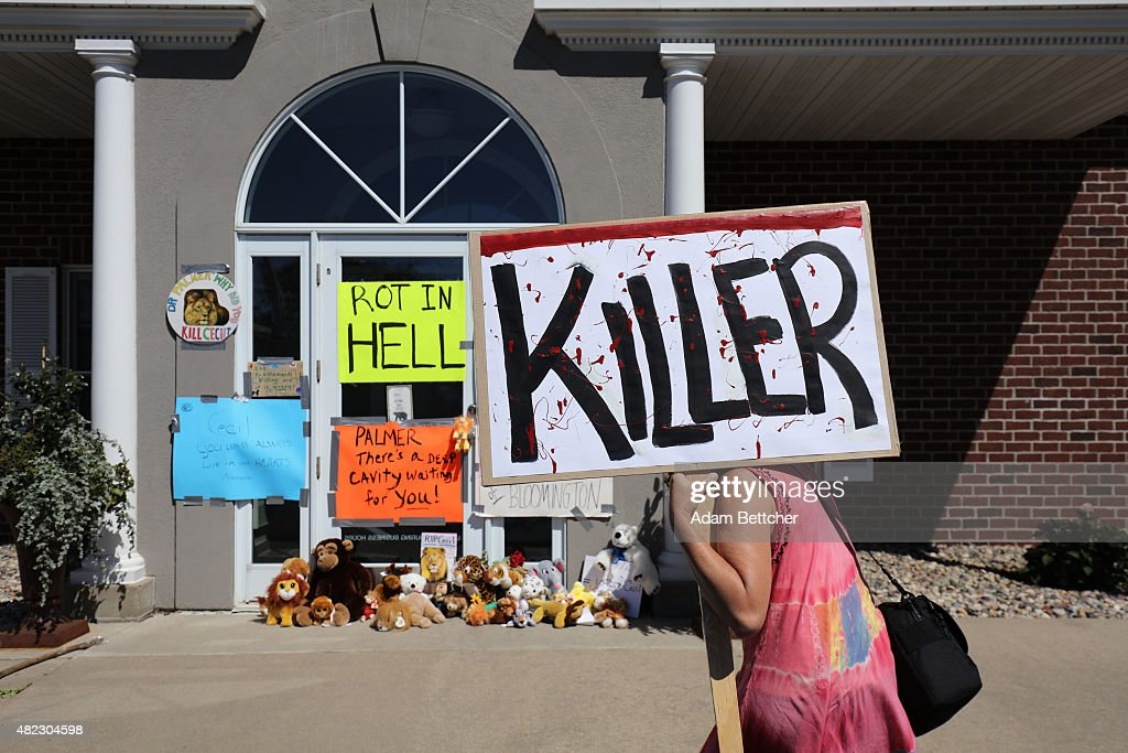 Protesters call attention to the alleged poaching of Cecil the lion, in the parking lot of Dr. Walter Palmer's River Bluff Dental Clinic on July 29, 2015 in Bloomington, Minnesota. According to reports, the 13-year-old lion was lured out of a national park in Zimbabwe and killed by Dr. Palmer, who had paid at least $50,000 for the hunt.