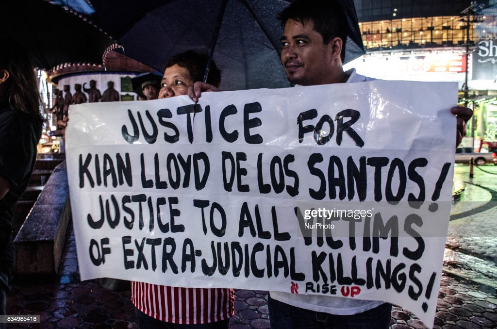 Protesters call for justice to all victims of drug-related extra judicial killings in Manila, Philippines, on 18 August 2017.