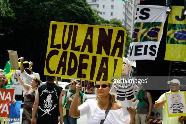 Protesters call for the conviction and arrest of former President Luiz Inacio Lula da Silva in a protest held in front of the São Paulo Museum of Art...