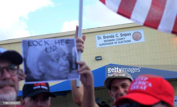Protesters call for the resignation of Broward Supervisor of Elections Brenda Snipes on Sunday, Nov. 11 at the Broward Supervisor of Elections office...