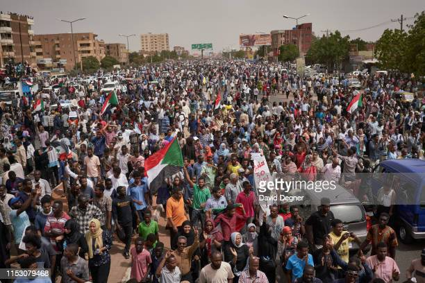 Protesters calling for a civilian government held large protests in Khartoum to commemorate those who were killed June 30 2019 in Khartoum Sudan The...