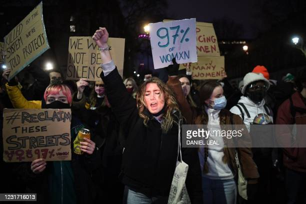 Protesters calling for greater public safety for women after the death of Sarah Everard, against the police handling of a gathering on Clapham Common...