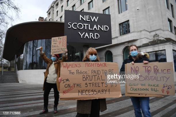 Protesters calling for greater public safety for women and against a proposed law that would give police more powers to intervene on protests hold...