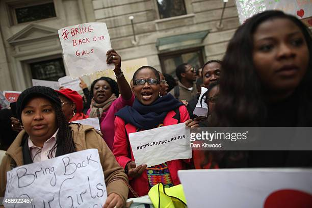 Protesters calling for the release of 276 abducted Nigerian schoolgirls gather outside Nigeria House on May 9 2014 in London England 276 schoolgirls...