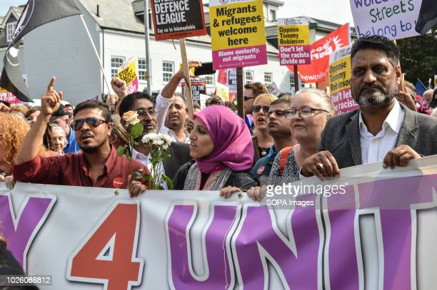 Protesters calling for unity as they oppose the far right English Defense League during a counter protest They were part of a counter protest in...