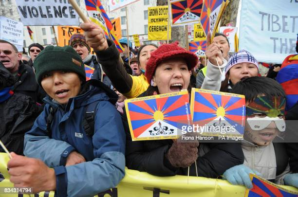 Protesters campaign for Tibetan independence from Chinese rule during the Olympic torch journey across London on its way to the lighting of the...