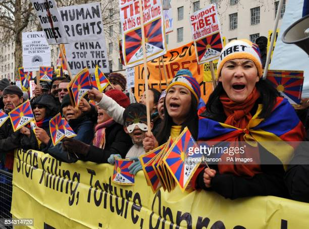 Protesters campaign for Tibetan independence fron Chinese rule during the Olympic torch journey across London on its way to the lighting of the...