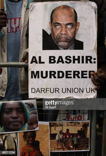 Protesters campaigning for the indictment of Sudan's president Omar al-Bashir demonstrate outside the Sudanese embassy on March 4, 2009 in London....