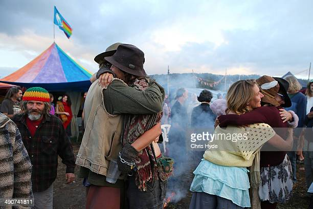 Protesters celebrate at the Bentley blockade site on May 15 2014 in Lismore Australia Antigas protesters are celebrating today after a drilling...