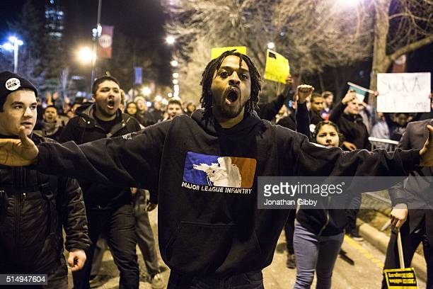 Protesters celebrate outside of the University of Illinois at Chicago Pavilion where Republican presidential candidate Donald Trump cancelled a...
