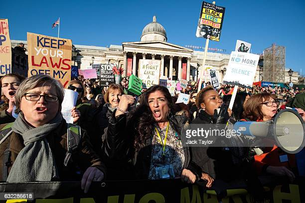 Protesters chant as they arrive in Trafalgar Square during the Women's March on January 21 2017 in London England The Women's March originated in...
