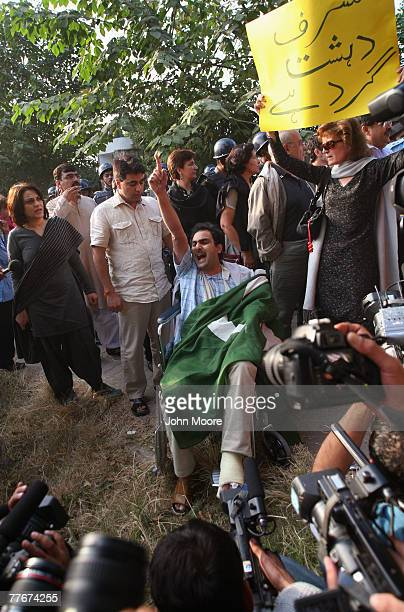 Protesters chant slogans against Pakistani President Pervez Musharraf and his declaration of Emergency Rule November 4 2007 in Islamabad Pakistan The...