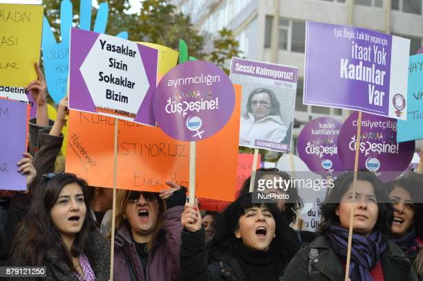 Protesters chant slogans as Kurdish and Turkish women take part in a protest to protect their rights and lives on the International Day for the...