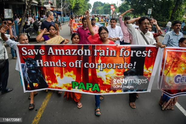 Protesters chant slogans while holding a banner during the protest against the devastating wild fire in amazon and highlighting qualms about the...