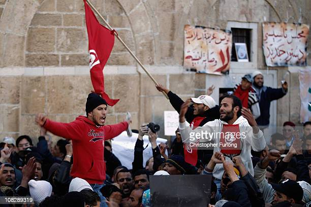 Protesters chant songs and demands outside the Tunisian prime minister's office on January 24 2011 in Tunis Tunisia Protesters from the countryside...