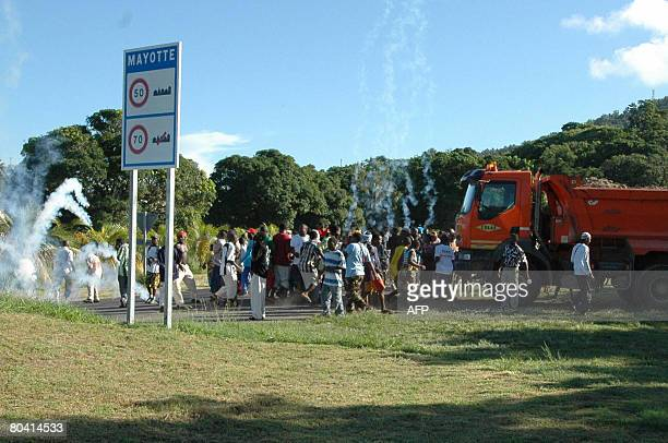 Protesters clash with gendarmes on March 27 2008 at the entrance to the airport in Pamandzi Petite Terre belonging to the French island of Mayotte...