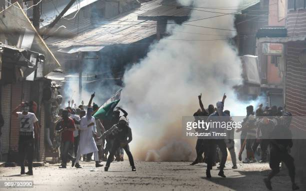 Protesters clash with paramilitary forces outside Jama Masjid at downtown area on June 8 2018 in Srinagar India