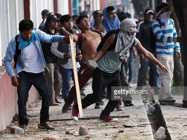 Protesters clash with Peruvian police forces in Arequipa on May 14 opposing to a 1400 million dollars mining project by Southern Peru in the southern...