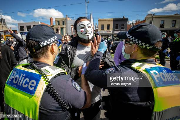 Protesters clash with Police at the Queen Victoria Market on September 13 2020 in Melbourne Australia Antilockdown protesters organised a freedom...