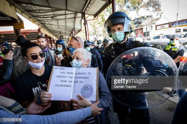 Protesters clash with Police at the Queen Victoria Market on September 13, 2020 in Melbourne, Australia. Anti-lockdown protesters organised a...