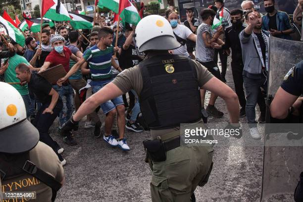 Protesters clash with police forces during the demonstration. Palestinian protesters hold demonstrations against Israeli forces' attacks on Al-Aqsa...