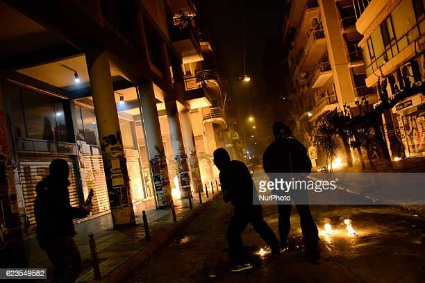 Protesters clash with police in Exarcheia district central Athens after a demonstration against US president Obama visit in Greece on November 15 2016