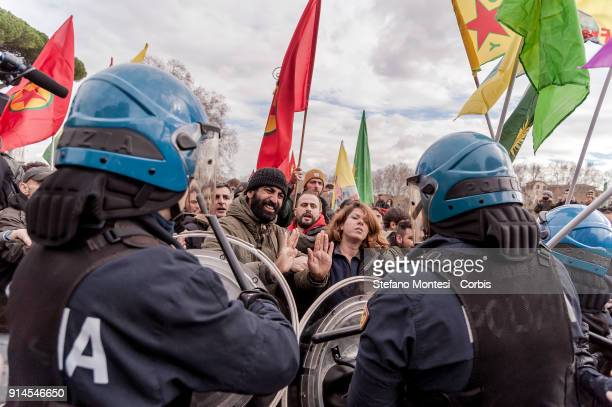 Protesters clash with riot police near Vatican during a demonstration against Turkish President Recep Erdogan's visit to to Rome and the Vatican on...