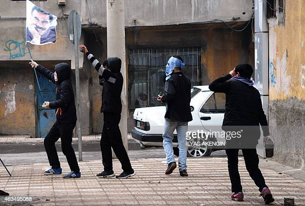 Protesters clash with Turkish riot police officers during a demonstration calling for the release of convicted Kurdistan Worker's Party leader...
